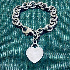 Tiffany & Co Sterling Silver Heart Charm Bracelet